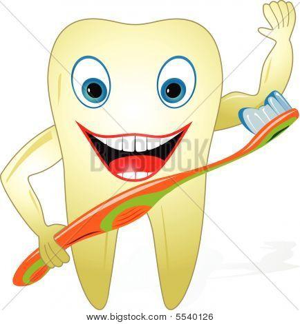 freudig gesund Zahn mit Zahnbürste