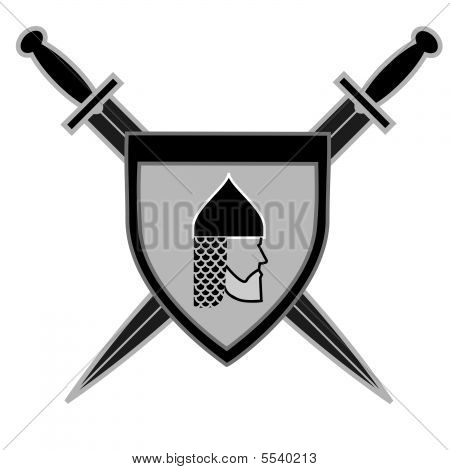 Illustration of historical shield with russian cavalier poster