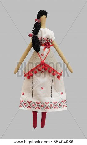 The-FS-Handmade isolated doll girl in Ukrainian folk style dress poster
