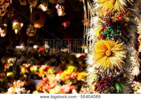 Dry daisy bouquet in market Zakopane Poland poster