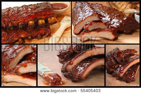 Collage showing a series of delicious BBQ Ribs