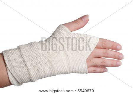 A Horizontal Image Of A Woman's Bandaged Hand