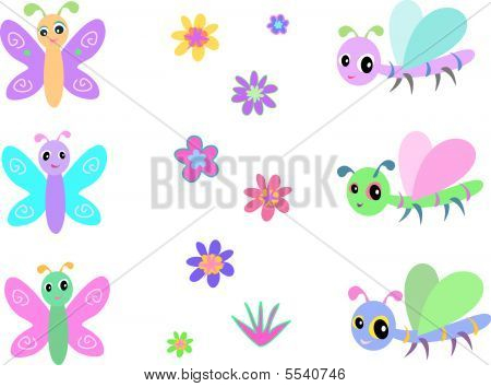 Collection of Baby Dragonflies, Butterflies, and Flowers