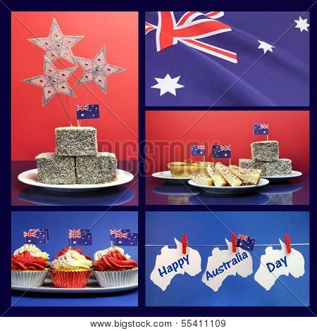 Happy Australia Day, January 26, Collage Of Five Images With Lamingtons, Flags, Fairy Bread, Meat Pi