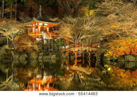Daigoji Temple Shingon Buddhist temple at night in daigo Kyoto Japan poster