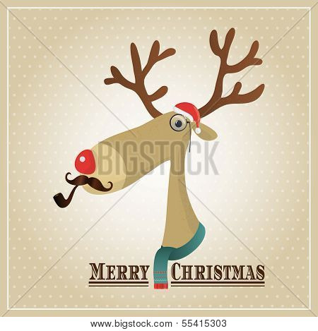 Vector Illustration Hipster Reindeer Merry Christmas Card