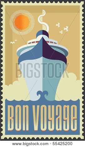 Vintage Retro Cruise Ship Vector Design