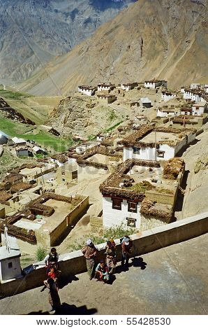 Picturesque Himalayan Village In Spiti Valley, Himachal Pradesh, India