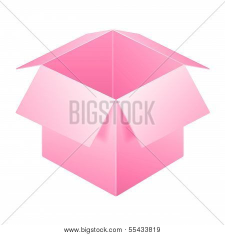 Pink Open Box Icon, Template. Isolated On White Background.