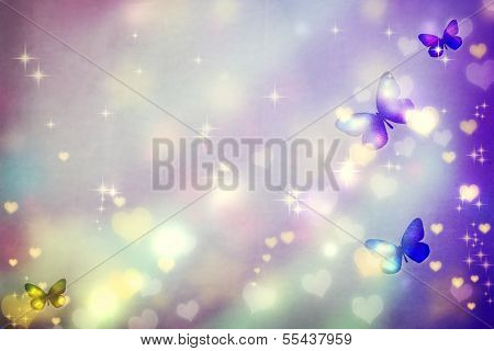 Butterfly Silhouettes On Purple Background