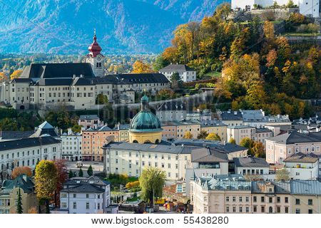 General view of the historical center of Salzburg, Austria poster