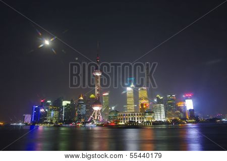 Shanghai - Nov. 15.2013  Shanghai Skyline In Night,china,bund In Shanghai