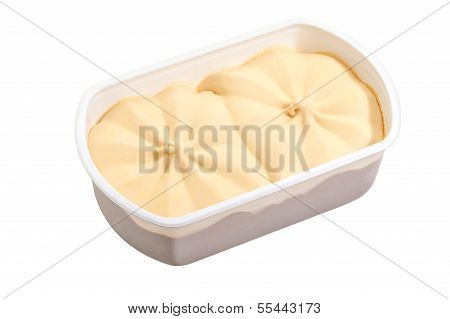Ice cream in box isolated