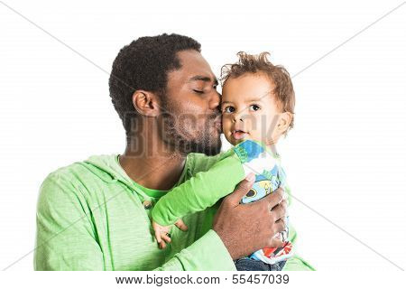 Happy Black Father And  Baby Boy Cuddling On Isolated White Use It For A Child, Parenting Or Love Co