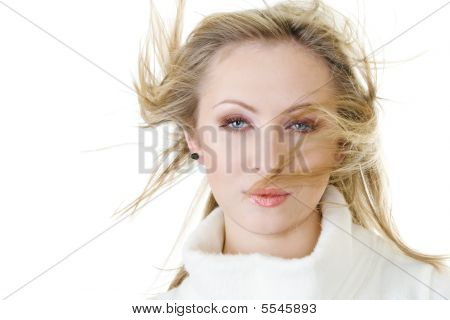 Attractive Woman With Fly-away Hair
