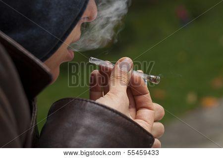 Weed Smoker Closeup