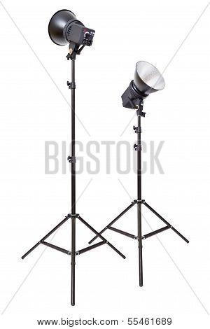 Two Studio Flash Light Monoblocks On Tripods