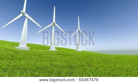 Windpower On A Field