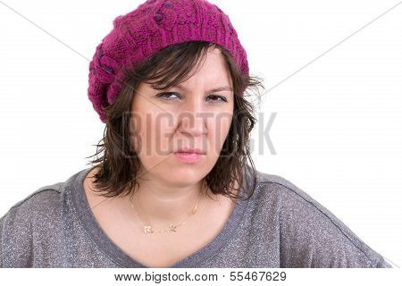 Woman Frowning In Disbelief With An Assessing Look