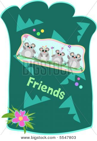 Here is a colorful Pouch with a group of Mice, shapes, flowers, and the message of Friends. poster