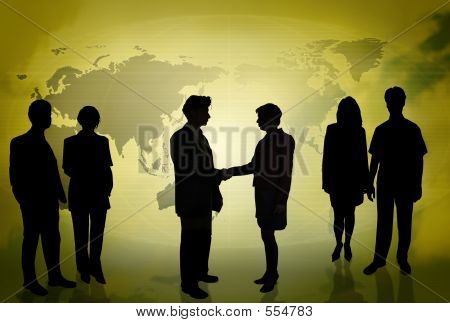 Business People In Front Of A World Map Gold