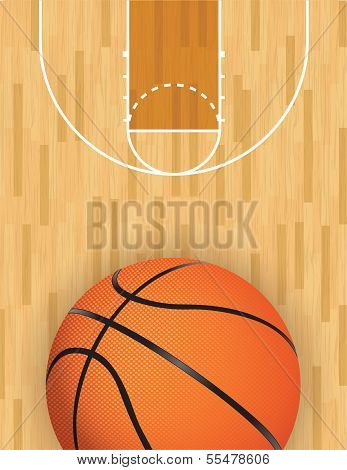 A realistic vector hardwood textured basketball court with basketball at the bottom. EPS 10. File contains transparencies. poster