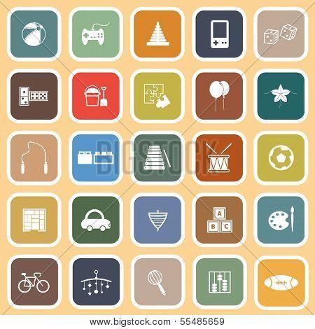 Toy Flat Icons On Orange Background