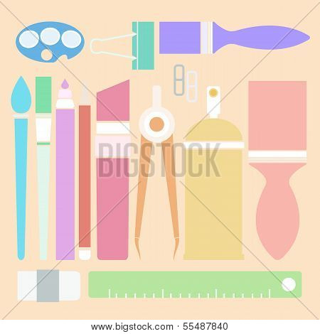Set Of Stationary In Flat Color Style