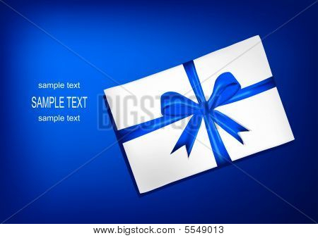 White Envelope With Blue Ribbon