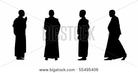 Buddhist Monks Silhouettes Set 1