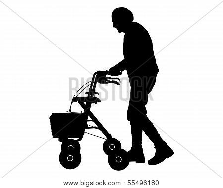 Old Woman With Walking Frame