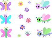 Here is a collection of Baby Dragonflies, Butterflies, and Flowers poster