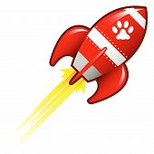 Pet paw print icon on red retro rocket ship illustration poster
