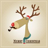 Vector Illustration Hipster Reindeer Merry Christmas Card poster