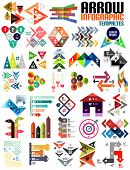 Set of geometric shape arrow info templates for templates, technology, presentation, banner, layout  stripes, ribbons, lines. For banners, business backgrounds, presenations poster