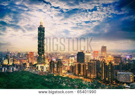 Skyline of Xinyi District in downtown Taipei, Taiwan. poster