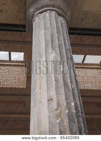Column damaged by air raid bombing during WW2 in Berlin Museumsinsel poster