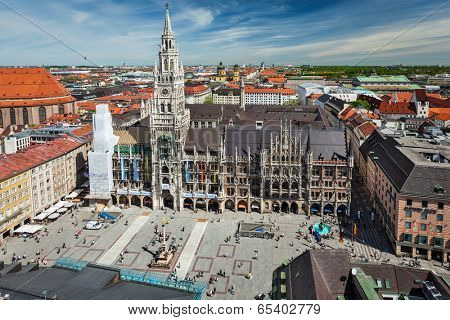 MUNICH, GERMANY - MAY 10, 2012: Aerial view of Munich -  Marienplatz, Neues Rathaus and Frauenkirche from St. Peter's church. Munich, Germany