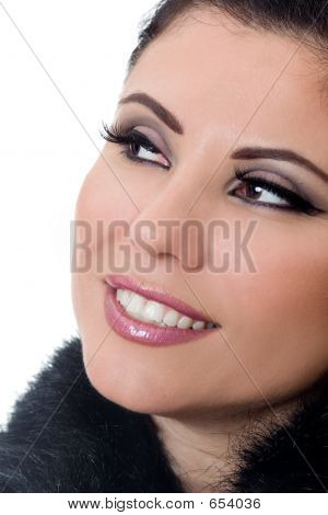 Smiling Woman With Makeup