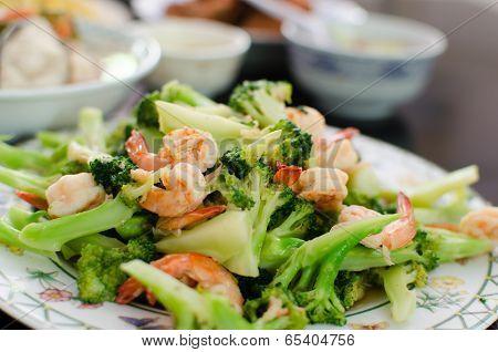 Fried Broccoli Shrimp.