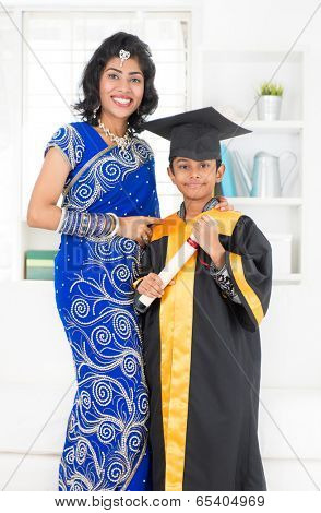 Kindergarten graduation. Asian Indian family, mother and son on kinder graduate day.