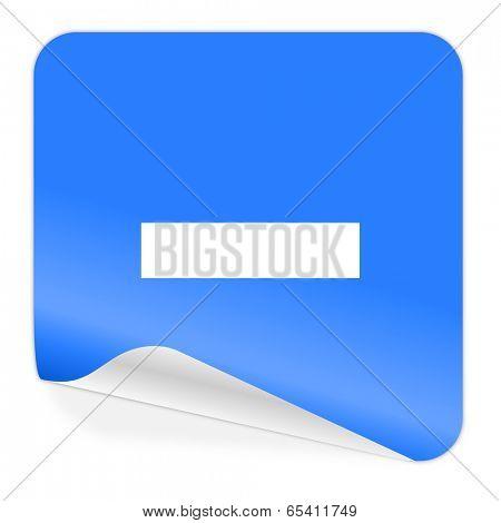 minus blue sticker icon