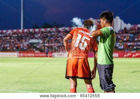 Sisaket Thailand-may 21: Santirat Viang-in Of Sisaket Fc. (orange) In Action During Thaicom Fa Cup B