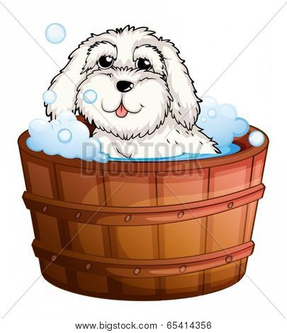 Illustration of a puppy taking a bath on a white background