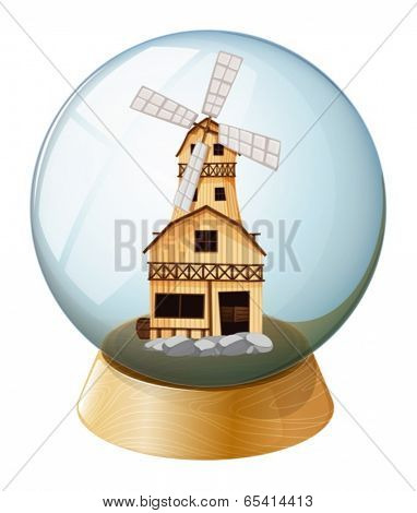 Illustration of a crystal ball with a wooden house on a white background