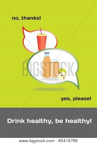 Food Concept Healthy And Unhealthy Drinks