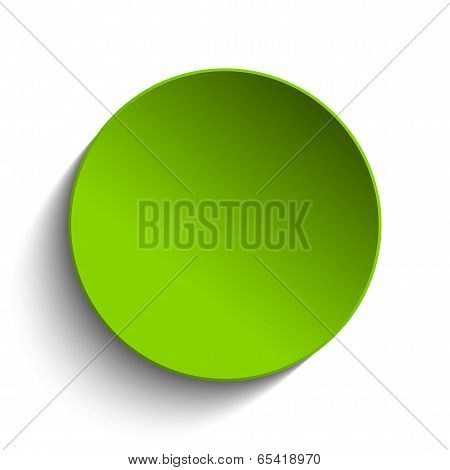 Green Circle Button On White Background