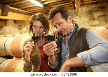 Oenologists in wine cellar tasting red wine