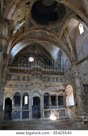 Ruins Of Abandoned Church In Kayakoy, Turkey