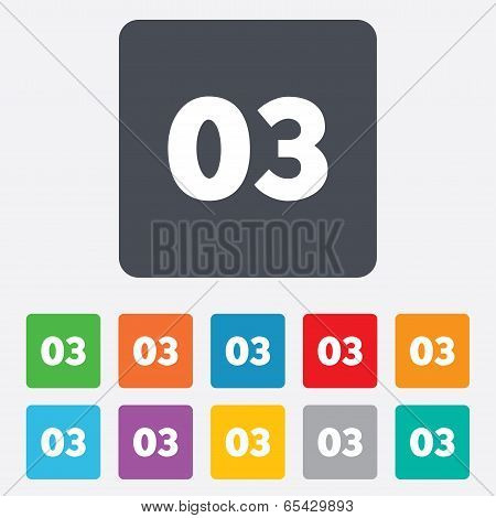 Third step sign. Loading process symbol. Step three. Rounded squares 11 buttons. Vector poster
